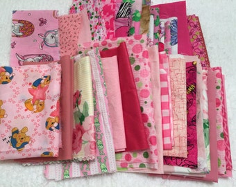 Fabric Scraps, PINK Fabric Scrap Pack, Small Craft Sewing, Quilting Scraps, Doll Clothes, Appliques, Destash, Sewing Supplies