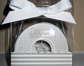Baby Closet Dividers-set of 9-JUNGLE THEME-gray and white-in Acrylic Gift Box