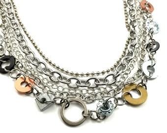 Bib Statement Necklace Multi Strand Necklace Hardware Jewelry Industrial Washers