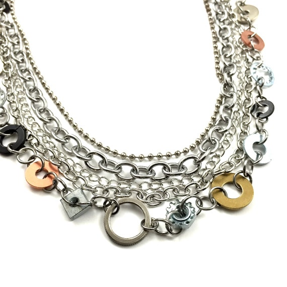 Bib Statement Necklace Multi Strand Necklace Hardware Jewelry Industrial Washers