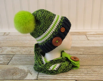 Crochet Hat For Girls with Matching Cowl - Ready to Ship in Child Size - Lime Green and Navy - Buttons - Faux Fur Pom Pom - Custom Made