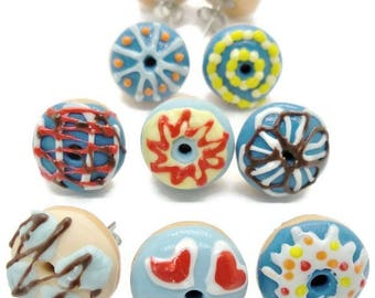 8 Pairs of Melty Yummy Donuts Earring Miniature Polymer Clay Food