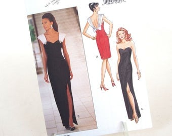 Vintage Formal Dress Sewing Pattern Butterick 6702, Size 12, 14, 16 Bust 34, 36, 38 Inches