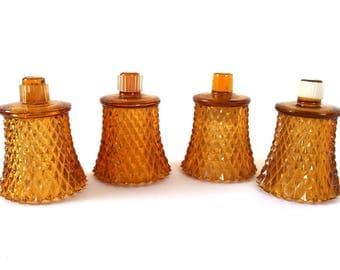 4 Vintage Amber Diamond Point Peg Leg Votive Candle Holder