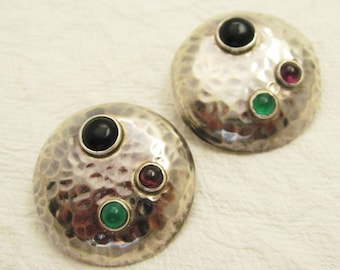 Large Hammered Sterling Earrings Clip On Artisan Jewelry E6991