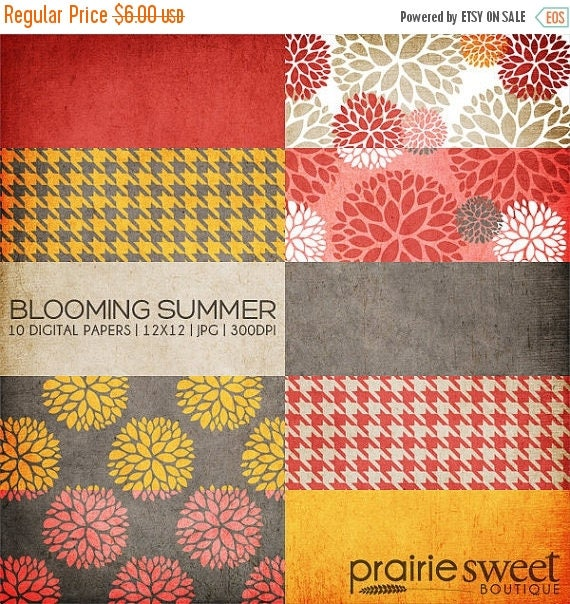 ON SALE 12x12 Digital Paper Collection - Blooming Summer - Great for Scrapbooking or Photographers - 10 JPG Files (300dpi) - Px8004 Instant
