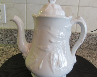 Antique white ironstone teapot with handle and lid - Anthony Shaw (England) - beautifully embossed-fine condition