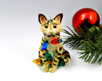 Bengal Cat Christmas Ornament Figurine Lights Porcelain