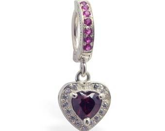 Sterling Silver Pink CZ Heart Charm on Pink Cz Pave Clasp By TummyToys (64019)