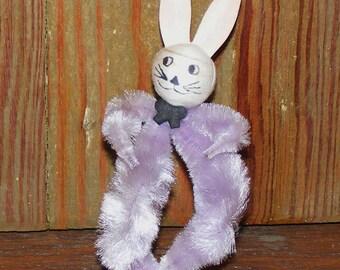 Vintage Chenille Spun Cotton Head Bunny Rabbit Figure
