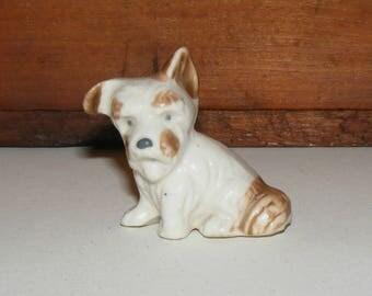 Vintage Bisque Long Hair Terrier Dog Figurine Japan