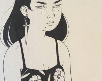 Original drawing - knife earring