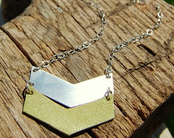 Sterling Silver and Leather Arrow Necklace