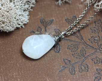 Moonstone Necklace Rustic Wire Wrapped Briolette Sterling Silver Chain Simple Pendant Necklace Moonstone Jewelry
