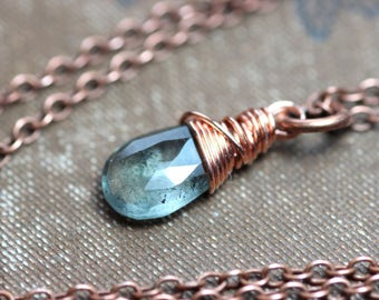 Moss Aquamarine Necklace Copper Mint Green Necklace Faceted Gemstone Briolette Luxe Rustic Jewelry