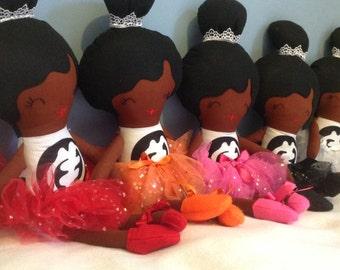 Glitzy Misty limited edition sparkling African ballerina black rag soft fabric doll