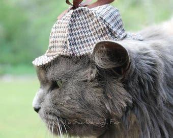 Sherlock Holmes Cat Hat - Deerstalker Cat Hat