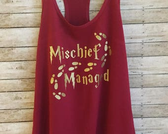 Mischief Managed Tank, Harry Potter Shirt, Funny Shirt, Harry Potter, Harry Potter Women, Harry Potter Gift, Weasley, Solemnly Swear Tank