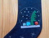 Personalized Christmas stocking  - snowglobe - family gifts -  family traditions - contemporary designs - grandchild gift