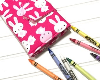 Bunny crayon wallet,  Washable toy,  Crayon tote, Quiet book, Activity book, Kids travel wallet, Crayon Holder, Easter basket gift, Crayons