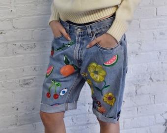 OOAK hand painted Susan Alexandra denim cut offs / custom Levis 505s denim cut off shorts