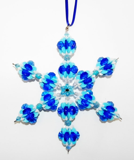 Beaded Snowflake in Multi Blues and White with Starflake and Round Rubber Beads with Silver Dots - Team or School Colors Suncatcher    #16