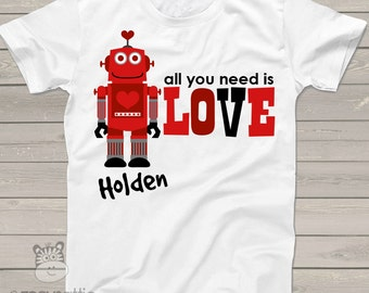 Valentine's Day shirt personalized boys or girls robot t-shirt VDPBGRTS