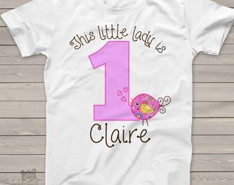 personalized birthday shirt - whimsy bird girl first birthday tshirt MBD-022