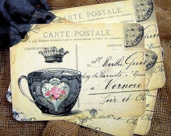 French Style Teacup Postcard Gift or Scrapbook Tags or Magnet #73