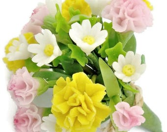 Carnation and Daisy Everlasting Memorable Bouquet, miniature handcrafted flowers 1 bunch