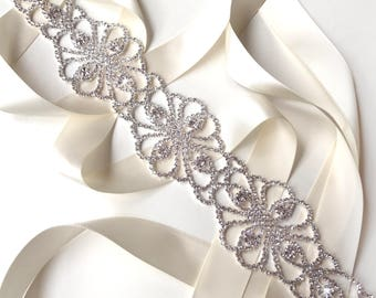 Sash - Fascinating Rhinestone Bridal Belt Sash in Silver - White Ivory Silver Satin Ribbon - Crystal Wedding Sash - Extra Long Wedding Belt