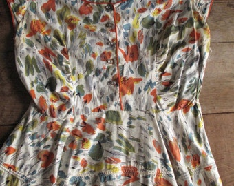Vintage 1940s 1950s Dress - Abstract Flowers - 50s Dress - Orange