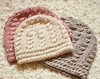 Crochet hat PATTERN - Cable Beanie (sizes baby to adult) Instant download
