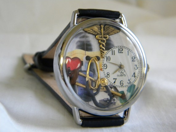 Doctors Watch with medical symbol, stethoscope and crutch