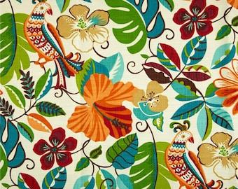 Vibrant Shower Curtain, Bright Floral Shower Curtain, Orange Blue Island Bathroom Decor, Tropical Bird Shower Curtain