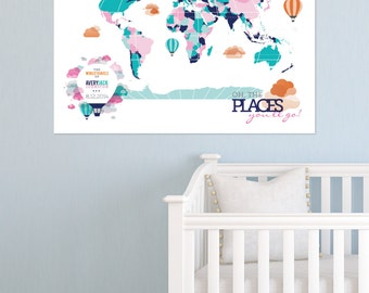 Us Map Poster Etsy - Map of the us poster size