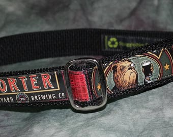 Adjustable Dog Collar from Recycled Boulevard Brewing Bully Porter Beer Labels