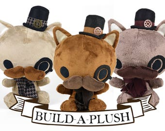 Custom Steampunk Cat Plush -- Choose Colors & Accessories