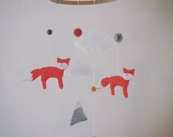 Foxes, Clouds & Mountains Felt Baby Crib Mobile
