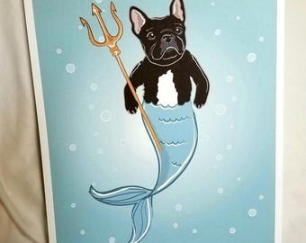 French Bulldog Mermaid - Black - Eco-Friendly 8x10 Print