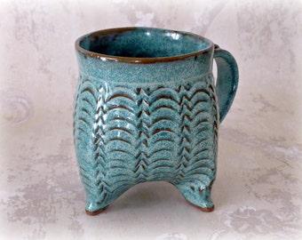 Curvy Tripod mug in Speckled Aqua- Temporary Reserve for Alli