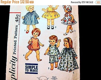 SALE 25% Off 1960s Doll Clothes Pattern for 18 inch Dolls such as Suzie Sunshine Chatty Cathy Vintage Sewing Pattern Simple to Sew