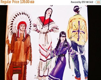on SALE 25% OFF Native American Indian Costume Pattern UNCUT Mens Womens Adult Size Xs to Xl Indian Maiden Indian Chief Sewing Pattern