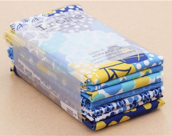205937 Irome Pack fabric bundle blue yellow dot flower Kokka