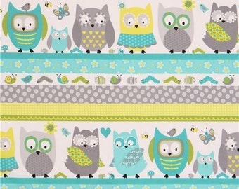 206264 stripe grey turquoise owl insect flower fabric Whooo Loves You