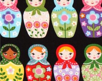 179509 black matryoshka fabric Robert Kaufman Russian doll