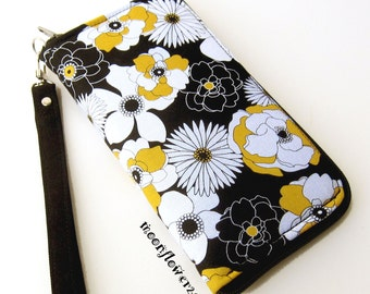 Black, White and Yellow Flower Power Zip Around Wallet - Wristlet - Clutch - iPhone, Cell Phone Case With Removable Strap