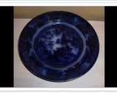 "Flow Blue Plate Antique Villeroy Boch Unico Importador 8.125"" old flowing cobalt"