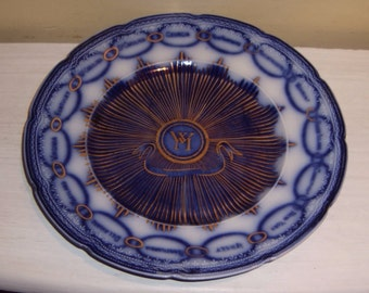 Martha Washington FLOW BLUE PLATE Malden Massachusetts Caldwell Antique Historical