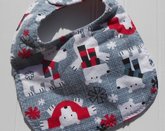 READY TO SHIP 100% cotton flannel baby bib - polar bear print
